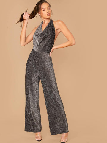 Grey Sleeveless Draped Halterneck Backless Wide Leg Glitter Jumpsuit