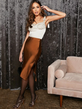 High Waist Split Side Satin Skirt