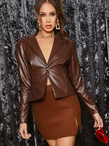 Brown Notched Collar Single Button Faux Leather Blazer