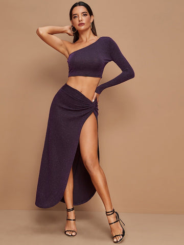Purple One Shoulder Glitter Crop Top & Wrap Skirt Set