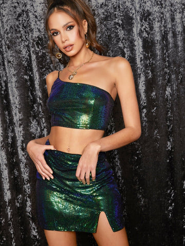 Green Sleeveless One Shoulder Crop Sequin Top & Split Thigh Skirt Set