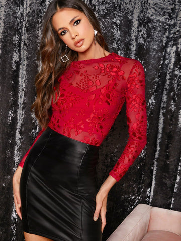 Bright Red Round Neck Sheer Embroidered Mesh Slim Top