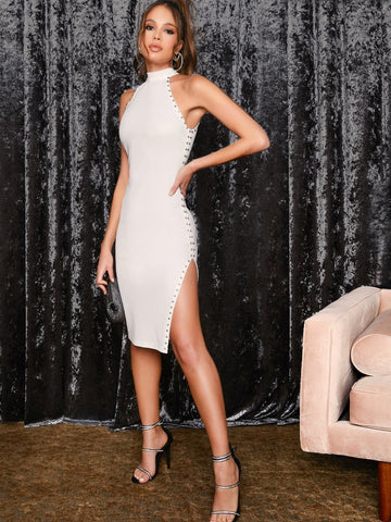 White Stand Collar Sleeveless Zipper Back Studded Detail Split Thigh Halter Dress