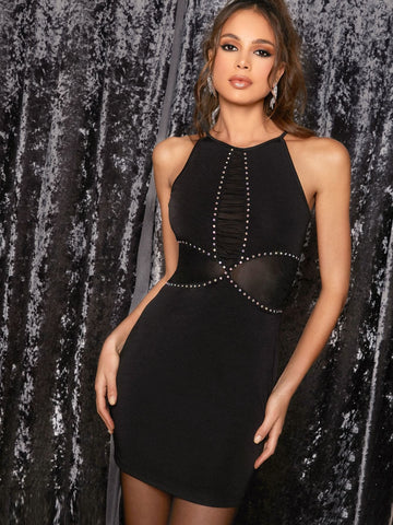 Black Sleeveless Rhinestone Detail Mesh Insert Halter Mini Bodycon Dress