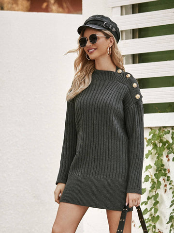 Grey High Neck Button Detail Solid Sweater Dress