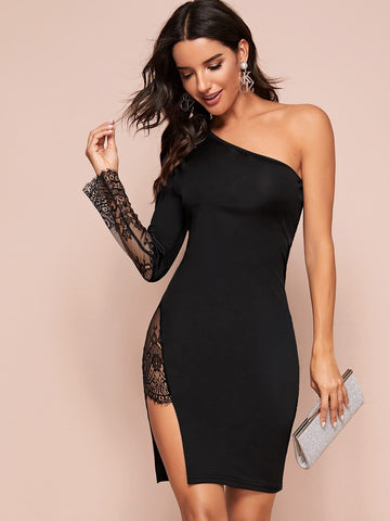 Black One Shoulder Lace Detail Split Thigh Short Dress