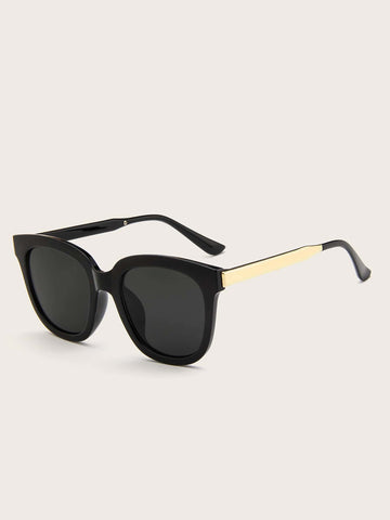 Black Plain Frame Flat Lens Sunglasses