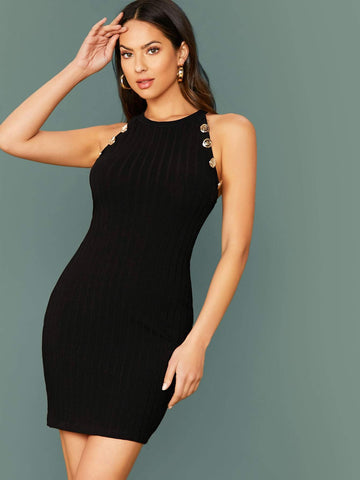 Black Round Neck Buttoned Detail Rib-knit Bodycon Dress