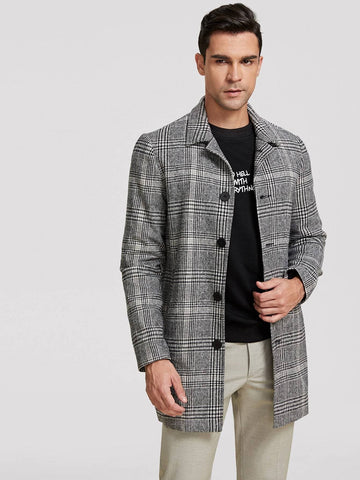 Grey Glen Plaid Single Breasted Coat