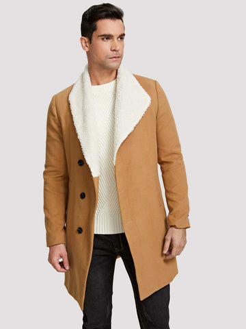 Single Breasted Men Contrast Fleece Collar Asymmetric Placket Coat