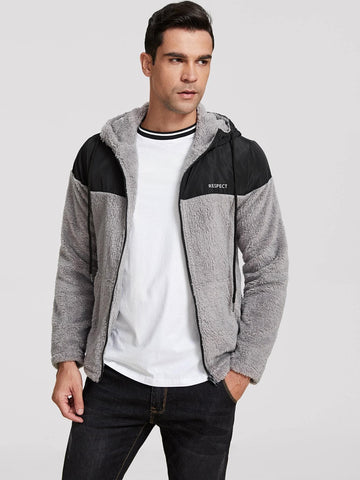 Grey Letter Graphic Two Tone Fleece Hooded Jacket