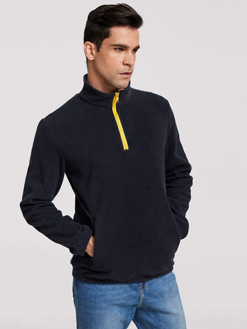 Navy Blue Stand Collar Men Zip Half Placket Pocket Front Fleece Sweatshirt