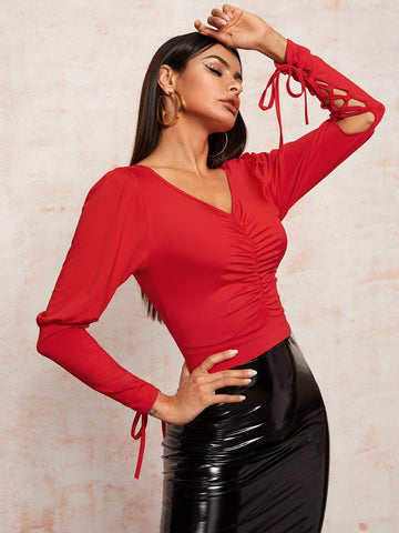 Bright Red V-Neck Solid Ruched Front Lace Up Sleeve Blouse