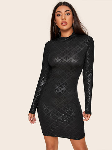 Black Stand Collar Mock Neck Plaid Bodycon Dress