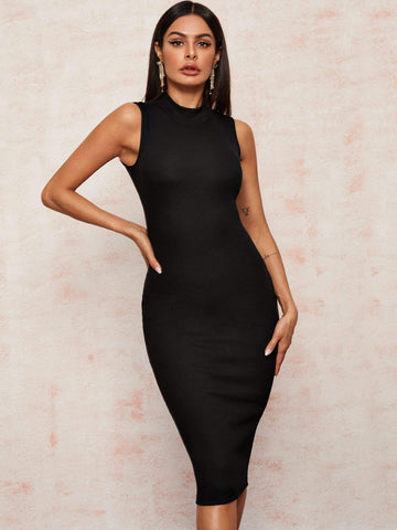 Black Stand Collar Solid Mock Neck Sleeveless Pencil Dress