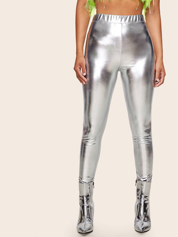 Silver Grey Elastic High Waist Metallic Skinny Pants