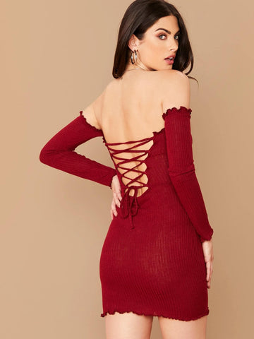 Burgundy Off Shoulder Lace Up Back Lettuce Trim Rib-knit Bodycon Bardot Dress