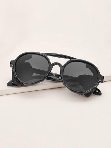 Black Top Bar Round Frame Sunglasses