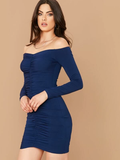 Off Shoulder Ruched Slim Fit Dress