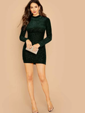 Stand Collar Mock-neck Leopard Flocked Bodycon Mini Dress