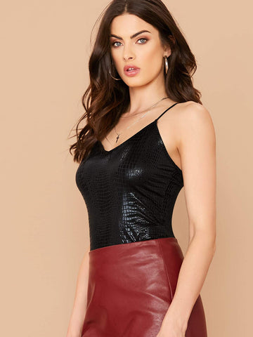 Black Spaghetti Strap V-neck Crocodile Embossed Fitted Cami Top