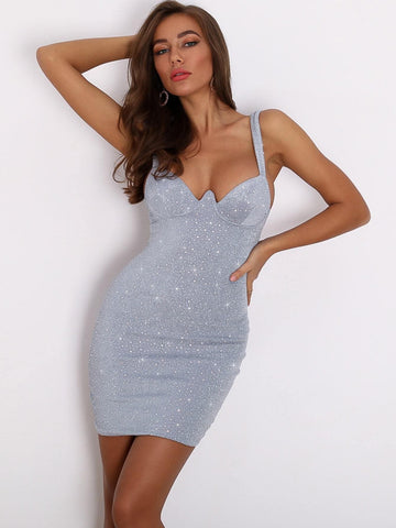 Grey Spaghetti Strap Sleeveless Zip Back Rhinestone Detail Bodycon Cami Dress