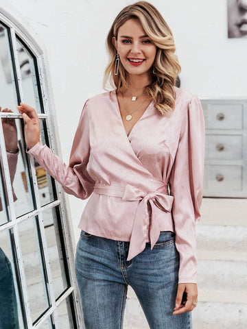 Pastel Pink V-Neck Gigot Sleeve Wrap Knotted Satin Blouse Top