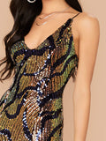 Spaghetti Strap Draped Sequin Mini Slim Fit Dress
