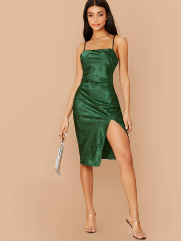 Green Spaghetti Strap Floral Jacquard Side Slit Midi Cami Dress