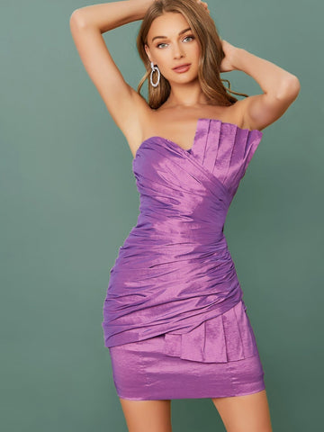 Purple Sleeveless Strapless Ruched Mini Dress