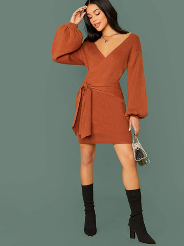 Brown V-Neck Bubble Sleeve Wrap Slim Fit Sweater Dress