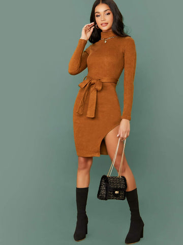 Mock High Neck Long Sleeve Waist Tie Slim Fit Sweater Dress