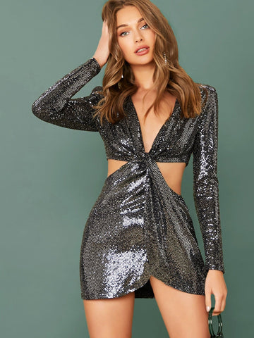 Black Deep V-Neck Twist Waist Cut Out Long Sleeve Sequin Mini Dress