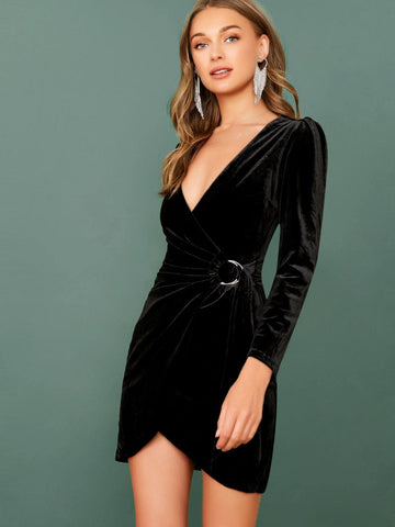 Black V-Neck Long Sleeve Wrap Slim Fit Velvet Dress