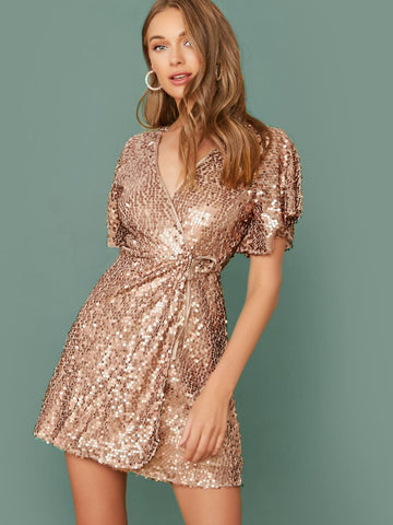 V-Neck Short Sleeve Sequin Wrap Mini Dress