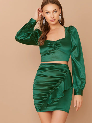 Green Crop Long Sleeve Satin Blouse Top And Ruffle Skirt