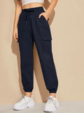 High Waist Flap Pocket Drawstring Waist Cargo Pants