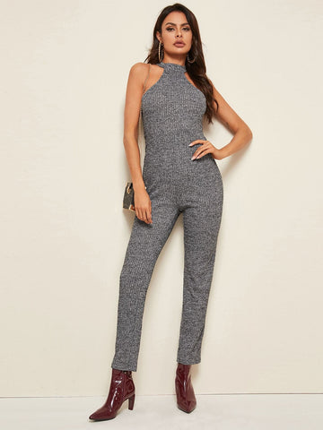 Grey Sleeveless High Waist Marled Rib-knit Halter Jumpsuit