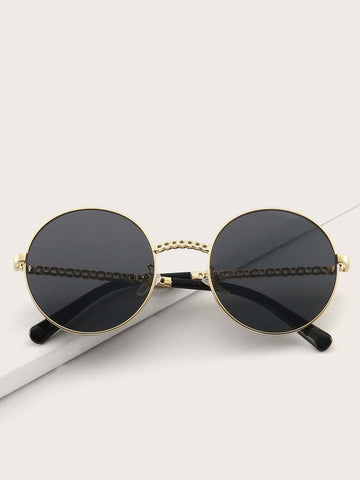 Black Metal Round Frame Sunglasses