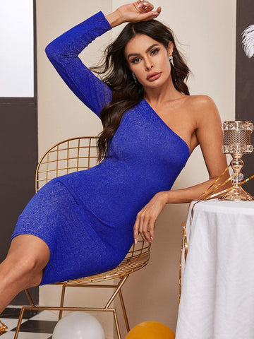 Blue Glitter One Shoulder Slim Fit Dress