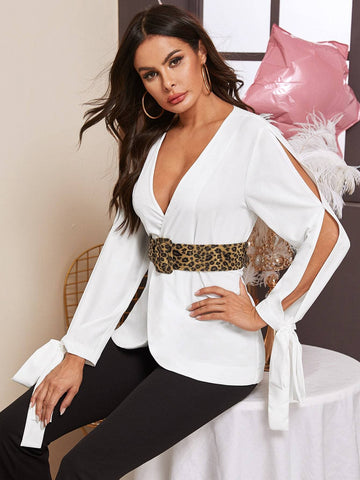 White V-Neck Split Sleeve Knotted Detail Belted Chiffon Coat