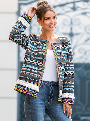 Round Neck Tribal Print Open Front Fringe Coat