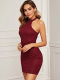 Sleeveless Rib-knit Halterneck Bodycon Dress