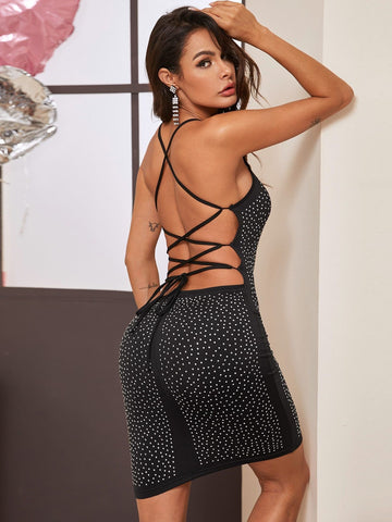 Black Sleeveless Slim Fit Criss Cross Backless Beaded Cami Mini Dress