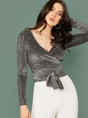 Grey Surplice Neck Belted Slim Fit Glitter Top