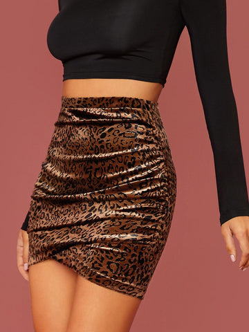 High Waist Slim Fit Leopard Wrap Velvet Mini Skirt