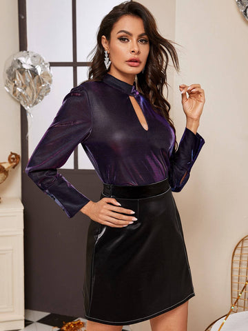 Purple Keyhole Neckline Solid Blouse Top