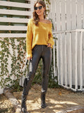 Bright Yellow Scoop Neck Ribbed Knit Fuzzy Sweater