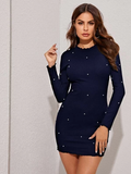 Round Neck Lettuce Trim Pearl Beaded Bodycon Dress