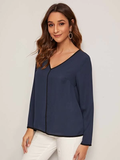 V Neck Contrast Binding Top